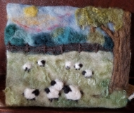 Felted-Art-Picture-Grazing-Sheep